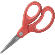 Sparco 13cm Kids Pointed End Scissors, Rubber, Red