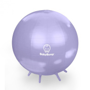 Baby Bump Birth Ball with Base Legs - Stability/Balance/Stand - Anti-burst - Pump - Exercise during Pregnancy - Prenatal Fitness - Induces Labour - Soothes Babies - Yoga Moms - Cute Practical Best Baby Shower Gift - 65 cm - Lifetime Guarantee - Lavende ..
