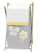 Yellow, Grey and White Mod Garden Girls, Baby and Kids Flower and Butterfly Clothes Laundry Hamper