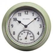 AcuRite 02470 Rustic Green Outdoor Clock with Thermometer, 22cm