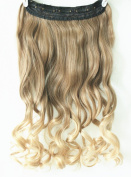 3/4 Full Head Clip in Hair Extensions Ombre One Piece 2 Tones Wavy Curly