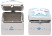C.R. Gibson Ceramic First Tooth and Curl Keepsake Box, Sailboat and Star