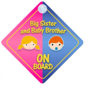 Big Sister And Baby Brother On Board Car Sign New Baby / Child Gift / Present / Baby Shower Surprise