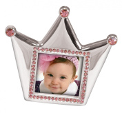 Stephan Baby Royalty Collection Keepsake Silver Plated Frame, Little Princess Crown