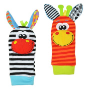 Cute Baby Wrist Rattle & Foot Finder Toy (Random Colour)