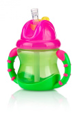 Nuby 2 Handle Flip n' Sip Straw Cup 240ml, 12 Months Plus, Green with Pink