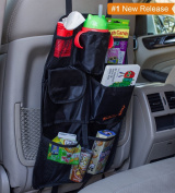 Back Seat Car Organiser - Premium Quality Best Backseat Auto Organiser For Kids and Baby - Contains Pockets For Toy Storage and is Great For Travel And Pet Supplies - Seat Back Kick Mat Protector - Fits Most Cars, Minivans and SUV's