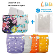 Baby Pocket Cloth Nappies Reusable with Adjustable Snap, 6 pcs + 6 Inserts