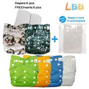 Baby Reusable Boy Pocket Cloth Nappies, 6 pcs + 6 Inserts