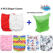 Baby Adjustable Reuseable Cloth Nappy Cover For Fitted Nappies And Prefolds 6pcs 6DCF01