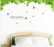 Beautiful Green Tree and Flying Butterflies Peel & Stick Wall Decals