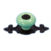 Tangpan (TM) Ceramic Door Knobs Black Zine Alloy Base Handle Colour Green Pack of 5