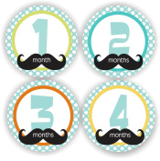 Baby Boy Monthly Stickers - Baby Shower Gift - Moustache Baby Month Stickers - Includes 1-12 Months Stickers
