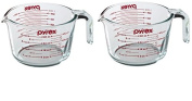 Pyrex Prepware 0.9l Measuring Cup, Clear with Red Measurements Pack of 2 Cups