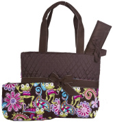 Brown Frog Quilted Nappy Bag with Changing Pad and Accessory Case - 3 Pieces