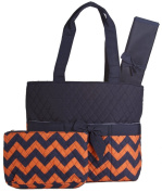 Orange Navy Chevron Quilted Nappy Bag with Changing Pad and Accessory Case - 3 Pieces