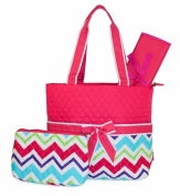Pink Multicolor Chevron Quilted Nappy Bag with Changing Pad and Accessory Case - 3 Piece