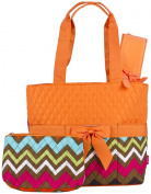 Orange Chevron Quilted Nappy Bag with Changing Pad and Accessory Case - 3 Piece