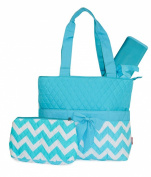 Teal Chevron Quilted Nappy Bag with Changing Pad and Accessory Case - 3 Piece