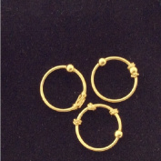 Nose Rings, 18K gold over Sterling Silver, Set of THREE, Balinese Tribal Style hoop, lip,eyebrow,body piercing
