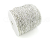 CleverDelights Rolo Chain Roll - 330 Feet - Shiny Silver Colour - 2.5x3mm Link - 100 Metre / 110 Yard