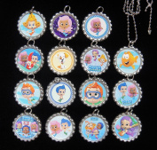 15 BUBBLE GUPPIES Flat Bottle Cap Necklaces for Birthday, Party Favour Set A1
