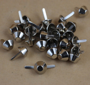 50 Pieces Nickel Plate Bottom Stud Bag Feet/Silver Cone Studs Purse Feet Spike Nailheads Brad 15mm leathercraft Findings