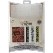 Sizzix Texture Fades Embossing Folders 4PK - Christmas Background & Borders Set