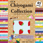 Toyo Japanese Origami Paper - Chiyogami Collection Mini (7.5cm x 7.5cm Each) 45 Designs - 180 Sheets Total