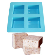 X-Haibei Flexible 4-Cavity Square Soap Bar Mould DIY Making for Homemade Craft