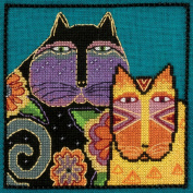 Feline Friends Beaded Counted Cross Stitch Kit (Linen) 2015 Laurel Burch by Mill Hill LB305106