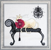 Counted Cross Stitch, Chandelier Cat, 36cm by 36cm