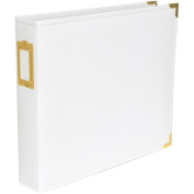Project Life Faux Leather Album, 30cm x 30cm , White and Gold