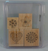 Stampin' Up! POLKA DOT PUNCHES Set of 4 Decorative Rubber Stamps Retired