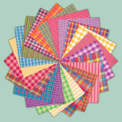 40 Bright Charm Pack, 15cm Precut Cotton Homespun Fabric Squares by Jubilee Creative Studio