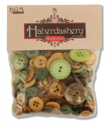 Buttons Galore Haberdashery Hand Dyed Buttons, 100ml, Green and Brown