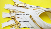 Zipperstop Wholesale YKK®18cm Brass Finished EXPOSED with Fancy Pulls YKK Zipper Number 5 Colour White Closed Bottom - Assorted Long Pull Non Lock Slider, Donut Pull Slider, Long Pull Handbag Slider and Notch Lock Ring Slider