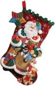 Bucilla 46cm Christmas Stocking Felt Applique Kit, Patchwork Santa