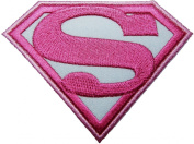 Superman Hero Cartoon Patches Pink & white 8.5x6.5 Cm Iron on / Sew on Patch