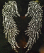 Large Angel Wing B Rhinestone Transfer Iron On - DIY