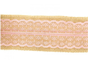Trimweaver 2-Yard Natural Burlap with Pink Lace Ribbon for Craft, 6.4cm