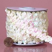 "2 Row 1.9cm "" Metallic Stretch Sequin Trim White Iridescent"