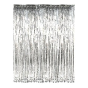 Silver Fringe Foil Curtain Decoration - 90cm X 240cm