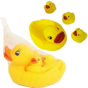 SET OF 4 RUBBER DUCKS YELLOW BATH TIME FLOATING SQUEAKY TOY WATER FUN GIFT NEW