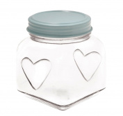 Veka Baby Products-Large square shaped glass jar with heart - Duck egg blue
