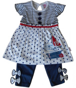 18-23 months - Baby Girls Outfit - Pretty White and Blue Sailor Kitten Dress and Leggings Set