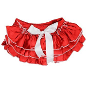 juDanzy Satin baby ruffle bloomers Nappy Covers in a Variety of colours & sizes (6-24 Months, Red Satin with White Bow) Colour