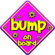 FLORAL BUMP novelty baby on board car window sign