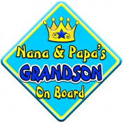 SWIRL JEWEL * Nana & Papa's GRANDSON * On Board Novelty Car Window Sign