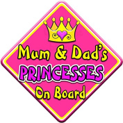 SWIRL JEWEL * Mum & Dad's PRINCESSES * On Board Novelty Car Window Sign